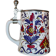Vintage BMF German Stein Pewter Lid & Colorful Floral Design Tulips, Berries, and Hearts