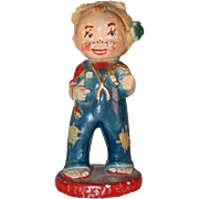 1944 MJG Colorful Carnival Chalkware Prize Figurine Freckled Face Girl Lucky Lem