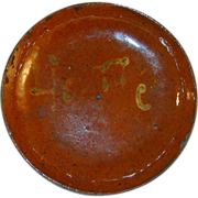 "Antique Glazed Redware Slip Decorated Pie Plate Spells the Word ""Honey"""