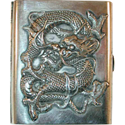 Antique Chinese Export Silver Cigarette Case Heavily Embossed Dragon on Front Initials on Back