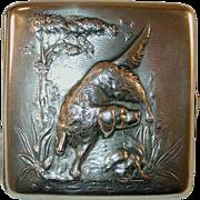Vintage La Pierre Manufacturing Co. Sterling Silver Cigarette Case Repousse Setter Dog on Front Monogrammed on Back