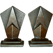"""Vintage Pair of Heavy Cast Iron Bookends Art Deco Design Marked """"Hubley 307"""""""