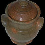 1940 Stahl Miniature Glazed Redware Olive Green Lidded Jar Applied Ear Handles