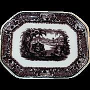 "Antique Dark Purple Staffordshire Transfer Ware  Ironstone 14"" Large Platter Washington Vase by Podmore Walker & Co"
