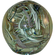 Blown Art Glass Paperweight Ball Shape Colorful Jumbled Lines Clear Background By Anthony DePalma Of Wheaton Village, NJ