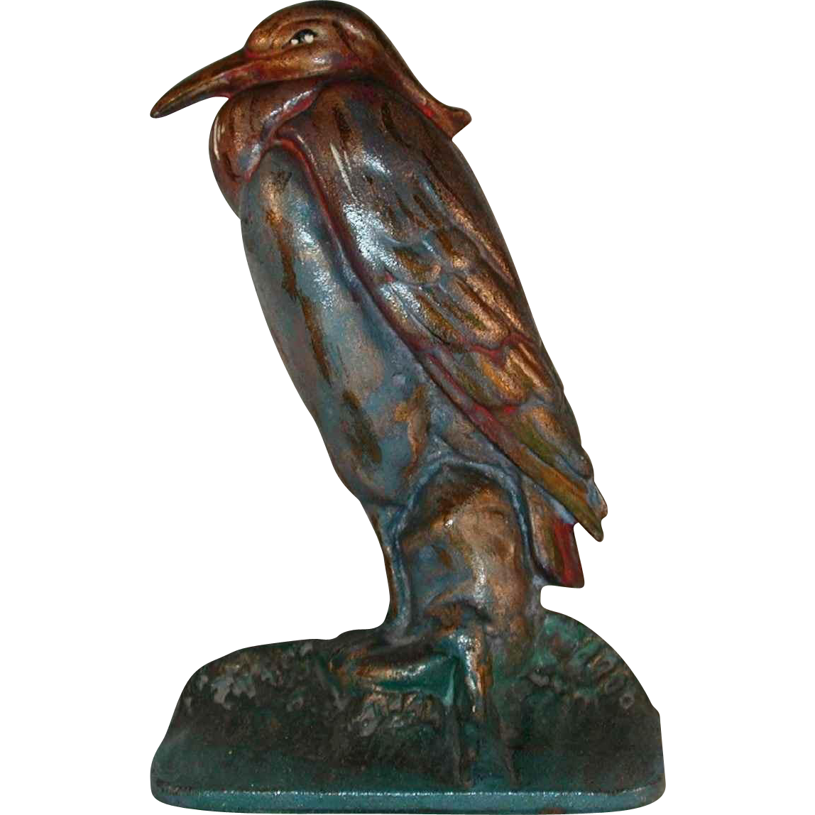 Vintage cast iron doorstop colorful heron standing albany foundry co from giameraandc on ruby lane - Cast iron doorstop ...