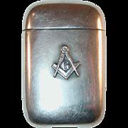 Sterling Silver Matchsafe Vesta Masonic Free Masons Emblem by L. Fritzsche & Co.
