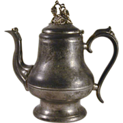 Antique Morey & Ober of Boston Pewter Teapot or Coffee Pot with Domed Lid and Vine Finial