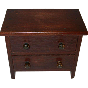 Antique Miniature Wooden Dresser with Two Dovetail Constructed Drawers