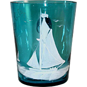 Antique Mary Gregory Blown Glass Cup Teal Blue with White Sail Boats and Applied Handle Atlantic City NJ Souvenir