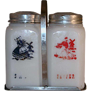 Scarce Vintage Milk Glass Dutch Boy and Girl Salt and Pepper Shakers Aluminum Caps and Carrier