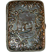Vintage Sterling Silver Cigarette Case Duck Hunting Scene on Front Monogrammed on Back