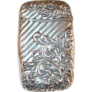 Antique Sterling Silver Match Safe or Vesta Repousse Art Nouveau Design Foliate Design