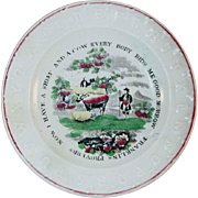 1860 Franklin's Proverbs Plate J&G Meakin Polychrome Painted Transfer Earthenware Alphabet or ABC Plate Farmer Cow Sheep