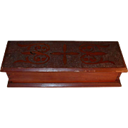 Vintage Carved Long & Rectangular Wood Box with Hinged Lid Nail and Dovetail Construction