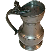 Antique Heavy Continental Rounded Pewter Flagon with Lid and Applied Handle