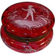 Antique Mary Gregory Cranberry Blown Glass Powder Box Child and Plants Decoration Brass Hinged Closure