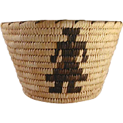 Vintage Papago Tohono O'Odham Indian Deep Basket Human Figures Design R Stien