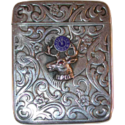 Antique BPOE Sterling Silver Match Safe or Vesta  Raised Elk Design with Ruby Eye  and Blue Enameled Clock By L. Fritsche & Co.
