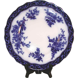 """1920s Flow Blue Touraine  8 3/4"""" Plate Stanley Pottery Co. Staffordshire England"""