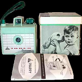 Vintage Sears Roebuck USA Mint Green Box Camera Tower Snappy Original Box and Instructions