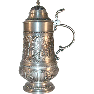 Vintage Large Pewter German Stein Domed Lid and Raised Designs Romance, Travel, & Spring time SKS Zinn