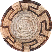 Old Papago Tohono O'Odham Indian Basket Small Deep Bowl Simple Linear Key Design