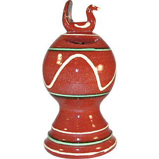 1987 Redware Bank Glazed and Slip Decorated With Bird on Top By Dorothy Long