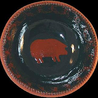 1985 Redware Deep Bowl Glazed Dark Blue Coloring with Brown Mottling Brown Slip Pig Decoration By Ned Foltz