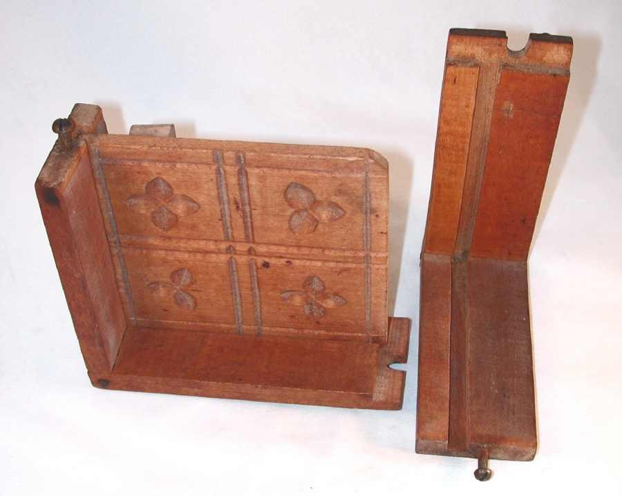 Antique carved wood rectangular box butter mold dovetailed