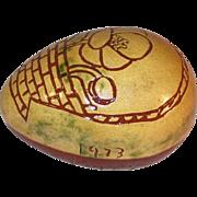 1973 Glazed Redware Egg Sgraffito Design Basket Poppy Flower Mom & Pop by Lester Breininger
