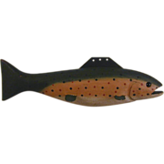 1997 Fish Decoy Wood and Metal Painted Rainbow Trout Glass Eyes Marked 97 SRW
