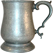 "Antique Pewter Tulip Shaped Mug with Broken ""C"" Handle Stamped ""PINT"""