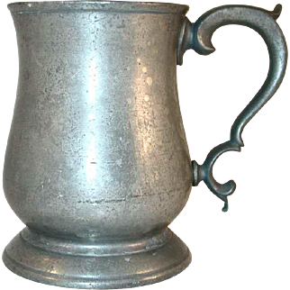"Antique Pewter Tulip Shaped Mug with Broken ""C"" Handle Stamped ""PINT"""