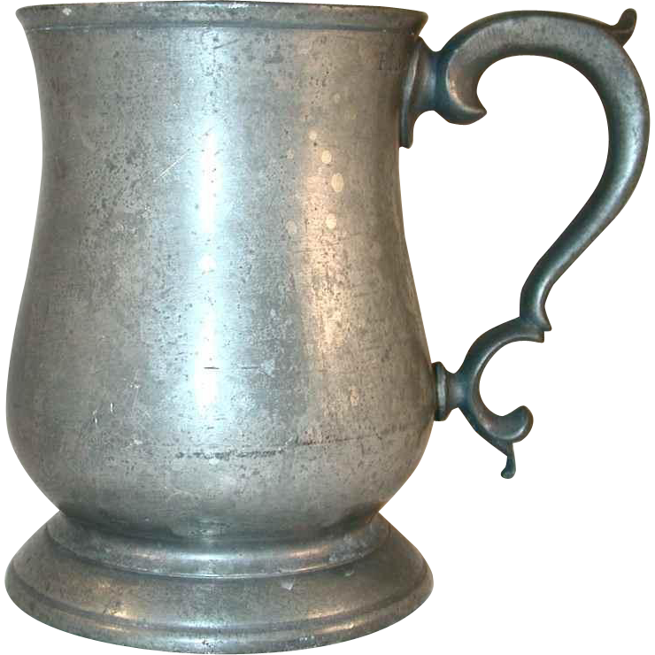 Antique Pewter Tulip Shaped Mug With Broken Quot C Quot Handle