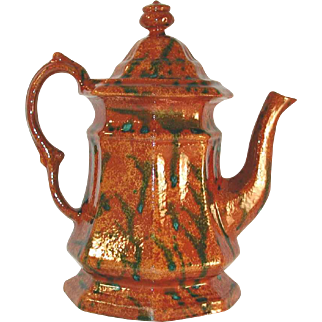 Beautiful 1991 Redware Teapot Glazed Brown Coloring with Green Mottling Octagonal Shape With Lid By Ned Foltz