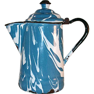Antique Agateware or Graniteware Mottled White on Blue Coffee Pot Hinged Domed Lid with Metal Finial