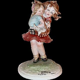 Beautiful Porcelain Figurine Tiziano Galli Capodimonte Italy Sisters Sculpture