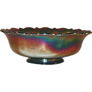 Old Carnival Glass Iridescent Purple Bowl Grape and Cable Pattern