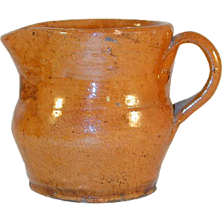 Antique Schofield Redware Creamer Lead Glazed Orangish-Brown Colored Wide Spout and Applied Handle From Ned Foltz Collection