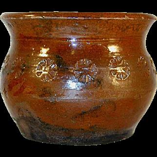 Antique Schofield Pennsylvania Redware Glazed Sugar Bowl From Foltz Collection