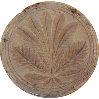Beautiful Antique Carved Wood Small Primitive Butter Print Stylized Plant Circle Incised Border