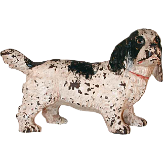 Old Cast Iron Doorstop Black and White Painted Full Figure Cocker Spaniel
