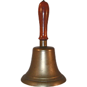 Antique Large and Heavy Brass Hand Bell w/ Iron Ball Clapper Metal Capped Wooden Handle