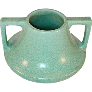 Vintage Arts and Craft Vase with Handles Mottled Green Matte Coloring