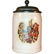 Vintage German 0.4 Liter Stein Pewter Lid & Hand Colored Arms Design A. Reissig of Serre Street Dresden