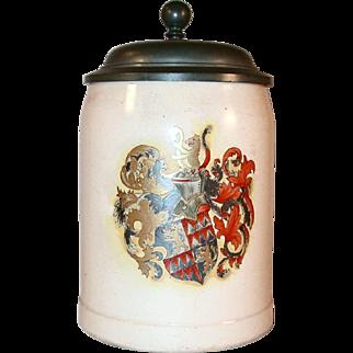 Vintage German 0.4 Liter Stein Pewter Lid & Hand Colored Arms Design A. Reissig of Serre Street Dresden