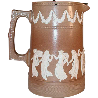 Late 19th Century Copland (Late Spode) Brown Jasperware Tall Creamer with Pewter Lid