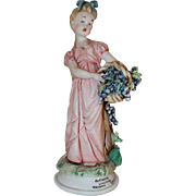 Beautiful Porcelain Figurine Tiziano Galli Capodimonte Italy Young Woman Carrying Basket of Grapes Titled Autumn Sculpture
