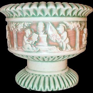 Beautiful Roseville Pottery Circa 1915 Donatello Pattern Large Footed Planter